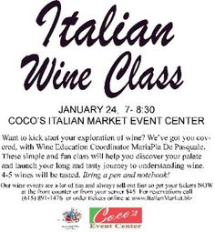 Wine Event and Class