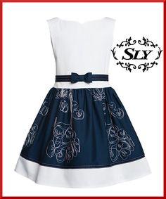 Neu New Sly Elegantes Mädchen Kleid Festlich Party Hochzeit Schleife Weiß Blau in Kleidung & Accessoires, Kindermode, Schuhe & Access., Mode für Mädchen | eBay