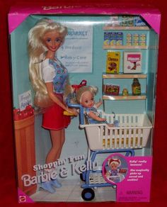 1995 Mattel SHOPPIN FUN Barbie Kelly Doll Grocery Store Shopping Set