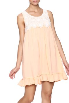 Sleevelessbaby-doll style dress with alace yoke, ruffle hem and a button back closure.   Babydoll Dress by Reckless Angel. Clothing - Dresses - Casual Texas Houston, Texas