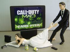 VIDEO Game 'junkie' BRIDE - Customized Wedding Cake Topper.  New Design - The ORIGINAL Video Game cake topper....not a copy cat.