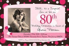 Eightieth birthday party ideas invite ideas moms 80th birthday ladys polka dot photo birthday invitation 80th black pink woman filmwisefo