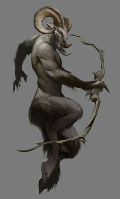 The Satyr or female Satyresses has goat-like features, including a goat-tail, goat-like ears.Sometimes mistaken for fauns which are half human half goat Satyrs are not human. Fantasy Kunst, Fantasy Art, Beast, Creature Concept, Mythological Creatures, Magical Creatures, Creature Design, Fantasy World, Fantasy Characters