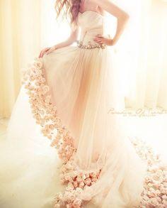 Bridal Pink - pale peach pink wedding dress; ruched chiffon; roses on skirt