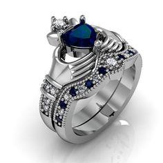 Claddagh Ring -  Created Blue Spphire Sterling Silver Love and Friendship Engagement Ring Set on Etsy, $84.50