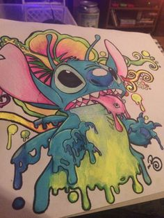 lilo and stitch tattoo Trippy Drawings, Psychedelic Drawings, Cool Art Drawings, Art Sketches, Hippie Painting, Trippy Painting, Hippie Drawing, Small Canvas Art, Mini Canvas Art