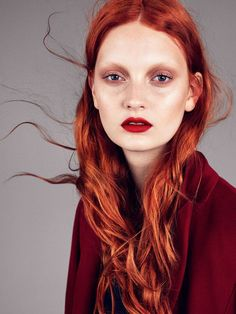 Codie Young by Andreas Sjodin red hair & red lips+