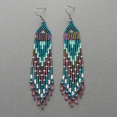Emerald and purple dangle beaded earrings - beadwork jewelry