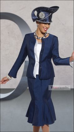 2014 first lady women's church suits | donna-vinci-navy-and-white-church-suit-with-large-jewel-trims-11236-3