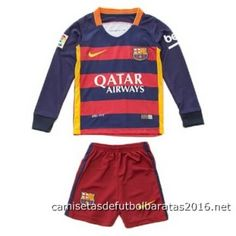 Camisetas de fútbol baratas niños manga larga FC Barcelona 2016 1ª equipación