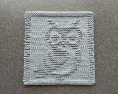 OWL Knit Wash Cloth or Dishcloth Light Gray von AuntSusansCloset