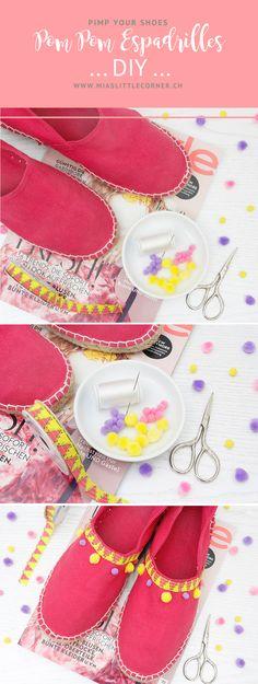 Mit diesem einfachen Pom Pom Espadrilles DIY könnt Ihr Eure Sommerschuhe ganz einfach aufhübschen und zum absoluten Eyecatcher machen.