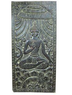 Antique Wood Carving Indian Wall Art Buddha Vitarka Door Panels