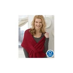 Ladies' Ribbed Slit Shawl Knitting Pattern by Red Heart