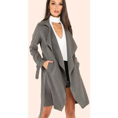 Sueded Belted Trench Coat GREY ($26) ❤ liked on Polyvore featuring outerwear, coats, grey, suede coat, button up coat, suede trench coat, gray coat and grey belted coat