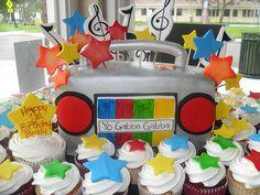 Yo Gabba Gabba Boombox Cake and Cupcakes