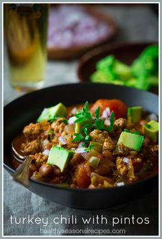 Turkey Chili Recipe with Pinto Beans on healthyseasonalrecipes.com #glutenfree