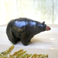 Woodland Walnut Black Bear Stoneware by StudioByTheForest on Etsy, $35.00