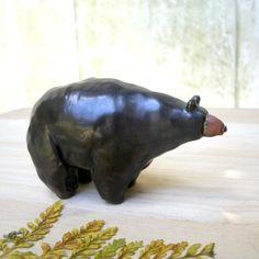 Woodland Walnut Black Bear Stoneware by StudioByTheForest on Etsy, $35.00