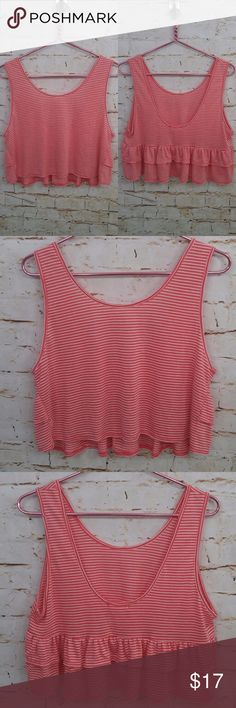 """ANTHROPOLOGIE GINGER G Stripe Scoop Back Crop Top BRAND: Anthropologie  Ginger G  CONDITION: New with tags. Please view all pictures.  SIZE: Women's Size M Medium  FLAT MEASUREMENTS (approximate, not doubled): Width – armpit to armpit (horizontal across bust) – 18.5""""  Length – shoulder to hem (vertical) – 17.25""""  STYLE: Scoop back crop top  COLORS: Coral, white  Colors shown in pictures may vary slightly from the actual item, due to different lighting and/or screen resolutions.   MATERIALS…"""