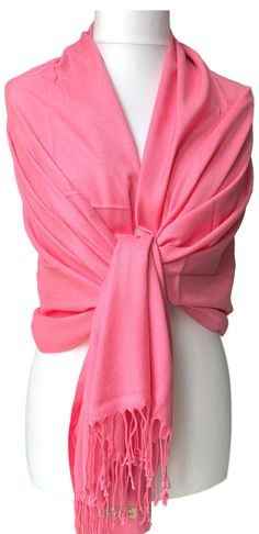 Large pink pashmina wrap / shawl, excellent quality - 70% Cashmere, 30% Silk.  £13.99 with FREE UK Delivery  The pashmina drapes and falls beautifully due to its weight, softness and density of the weave, it can also be worn as a scarf, very versatile - the perfect fashion accessory.  Measurements approx : 71 inch / 180 cm in length excluding the tassel trim and 30 inch / 75 cm in width. Pashmina Wrap, Prom Accessories, Fashion Accessories, Prom Outfits, Oversized Scarf, Free Uk, Shawls And Wraps, Weave