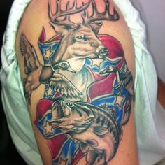 I like most of the tattoo but delete some of it I guess. deerhead tattoos | Grey Ink Deer Head, Fish And Flying Duck Tattoos