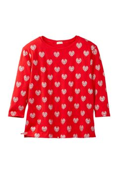 Glitter Hearts Long Sleeve Tee (Big Girls)