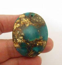 NOUVEAU - Pendentif, Unique Sucrerie Jade Copper & Gold Bornite, Pierre Oval - [ 58] : Perles pierres Fines, Minérales par bijouxplanet