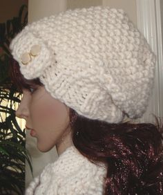 Slouchy Beanie Cowl Set in Ivory winter white hat by LolasWonders Slouchy Beanie Hats, Cowls, Winter White, Scarves, Crochet Hats, Ivory, Trending Outfits, Handmade Gifts, Crafts