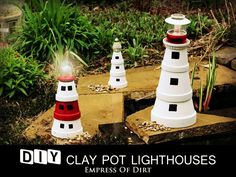 DIY Clay Pot Lighthouses - solar light on top!! ღ✿´¯`*•.¸¸✿ღღ✿´¯`*•.¸¸✿ღღ✿