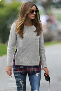 Olivia Palermo, casual dogwalk. #op #style #autumn #casual #street #style #outfit #grey #sweater #jeans