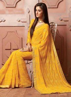 Magical Mustard Booti Work Chiffon Satin Designer Sarees http://www.angelnx.com/Sarees/Bollywood-Sarees#/sort=p.sort_order/order=ASC/limit=32/page=3