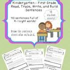 """This file includes 40 sentence building student work sheets, and one """"Draw the sentence"""" sheet.  Students practice reading, tracing, writing, and b..."""