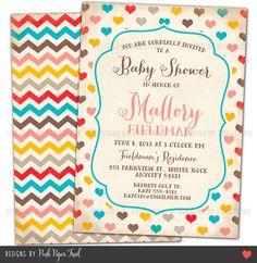 Rustic Vintage Shabby Chic Hearts and Chevron Invitation - Customizable Wordings  - Wedding - Bridal Shower - Baby Shower - Birthdays on Etsy, $15.00
