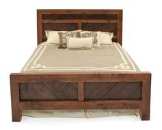 Reclaimed barn wood is hand crafted into a refined rustic bed for cabin, lodge, ranch, camp & cottage decors. Salvaged wood bedroom furniture made in USA.