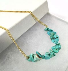 "Natural Turquoise Stone Chip Bar Choker Necklace 17"" Gold Plated Handmade USA  