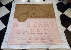 Crochet Blankets Design Ravelry: Beary Sweet Baby pattern by Glee Brown Workman - Made in One piece, no sewing. Free Baby Blanket Patterns, Crochet Blanket Patterns, Baby Blanket Crochet, Baby Patterns, Crochet Blankets, Afghan Patterns, Crochet Cushions, Crochet Quilt, Crochet Bebe