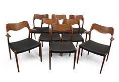 No. 71 & No. 55 Teak Dining Chairs by Niels O. Moller, 1960s, Set of 8 7