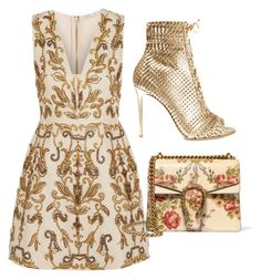 Gold by carolineas on Polyvore featuring polyvore, mode, style, Alice + Olivia, Gianvito Rossi, Gucci, fashion and clothing