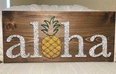 Aloha String Art, Hawaii, Pineapple, Welcome Sign- order from KiwiStrings on Etsy! www.kiwistrings.etsy.com