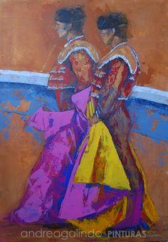 Andrea Galindo. Pintura: TOREROS (I) ACRÍLICO SOBRE MADERA