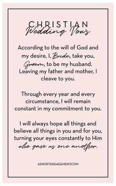 Traditional Christian Wedding Vows.17 Best Christian Wedding Vows Images In 2018 Thoughts