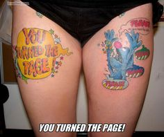 """""""Monster at the end of this book"""" tattoo.  This was one of my favorite books and my kids absolutely love it too.  Such a cute tattoo idea!"""