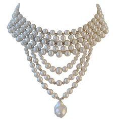 Circa 1900s Elaborate Pearl Choker