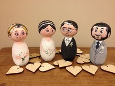 One of a kind hand painted wood wedding kokeshi dolls cake toppers / Noivinhos…