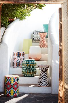 Solomon Ceramic Indoor/Outdoor Side Table | Anthropologie Outdoor Living
