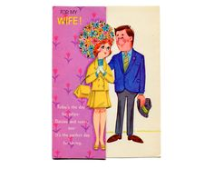 Vintage Card Sweethearts For My Wife Easter Bouquet Mod 1960s Love Bright Flowers Husband and Wife Mid Century Vintage Paper Greeting Card by allsfairyvintage on Etsy https://www.etsy.com/listing/221726651/vintage-card-sweethearts-for-my-wife