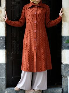 Long Aran Knitted Cardigan Coat, perfectly cozy