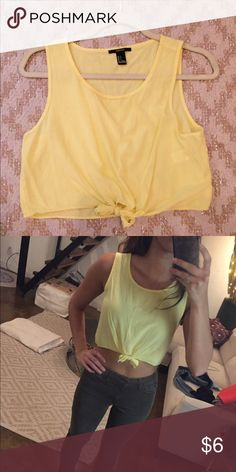 Yellow Crop Top Yellow Crop Top with front tie. Forever 21 Tops Crop Tops