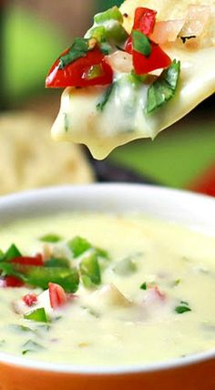 Applebee's Spicy Queso Blanco Copycat Recipe ~ Now you can enjoy your favorite dip at home... This creamy cheesy dip with a little kick is loaded with 2 cheeses, fresh herbs and just enough heat to make your tongue tingle. ~